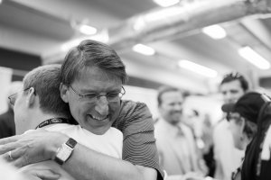 Nicholas gets a hug from Governor Pat McCrory